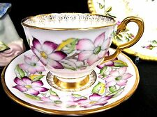 ROYAL STAFFORD TEA CUP AND SAUCER FLORAL GARLAND PAINTED TEACUP PATTERN