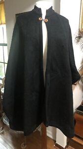Artesania Inca Black Brushed 100% Wool Cape Handmade In Ecudor One Size