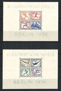 Germany 1936 Olympic Games Stamp Mini Sheet Set of 2 MUH Mi. BLK5/6 (3-26)