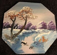 Hand Painted Vintage Antique Oil Painting Wall Art Purple Blue Landscape Trees A