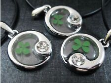 4 pcs charming real four leaf clover taiji style chic pendant