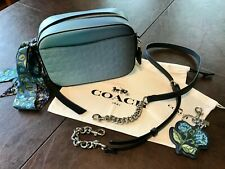 NWOT COACH BLUE OMBRE SIGNATURE CAMERA BAG + MATCHING KEY FOB & SCARF ALL NEW!!!