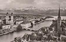 Ansichtskarte - Zürich und die Alpen mit Großmünster und Fraumünster