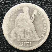 1871 Seated Liberty Dime 10c Circulated #14226