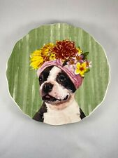 """Illustrated Colorful Cute Dolomite Pier 1 Funny Boston Terrier Dog Plate 8"""""""