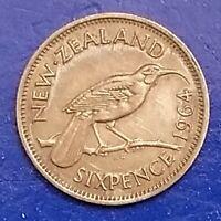 1964 New Zealand 6 Six Pence Queen Elizabeth Huia Bird Coin