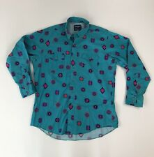 Vtg Wrangler Aqua Green Aztec Western Cowboy Cut Button Down L/S Shirt 17/34