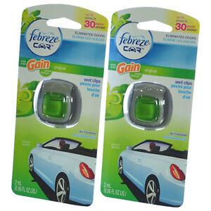 Febreze Car Vent Clip Auto Home Office Air Freshener & Odor Eliminator Gain-2 pk