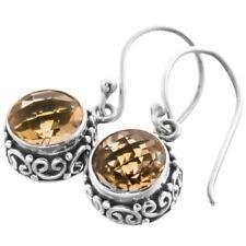 "3/8"" GORGEOUS 8MM CITRINE 925 STERLING SILVER earrings"