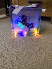 Light Up Glass Block Colourful Unicorn Purple