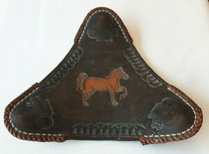 VTG Hand Tooled Leather CORONA Extra Beer Folding Tripod Saddle Seat Stool Chair