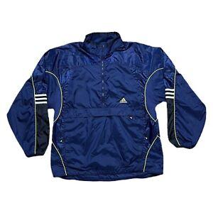 Vintage 90s Adidas Anorak Windbreaker Half Zip Navy Blue Green L/XL Nylon