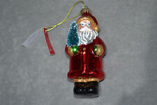 12.5cm Blow Glass Hanging Santa Claus Red Bauble Christmas Tree Ornament New M&S