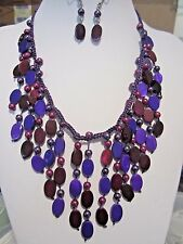 Multi Purple Oval Shell Bead And Faux Thread link necklace Earring set