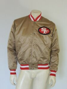 Vintage 1980s San Francisco 49ERS Gold Nylon STARTER Jacket FLAWS Size MEDIUM