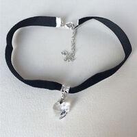 Vintage Chic Black Velvet Choker Crystal Heart Pendant Gothic Handmade Necklace