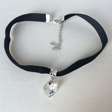 Vintage Black Velvet Choker Crystal Heart Pendant Gothic Necklace Punk Au