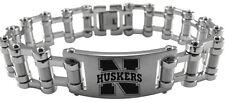 NEBRASKA CORNHUSKERS * Stainless Steel Bike Chain Bracelet w/Logo * NCAA Jewelry