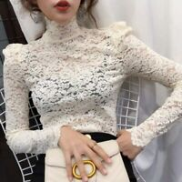 Chic Women Lace Crochet High-neck Tops Puff Sleeve Slim Sexy Shirt Blouses Party
