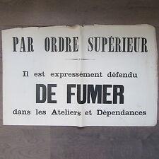 AFFICHE ANCIENNE 1810 IL EST EXPRESSEMENT DEFENDU DE FUMER IMPRIMERIE