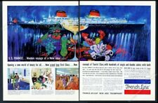 1961 SS France ship Bob Peak great color art French Line travel vintage print ad