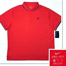 New NIKE Men's Dri-Fit Short Sleeve Polo Golf Shirt Rugby Red Black Sz 2XL XXL