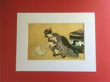 Japanese Reproduction Print  SHUNGA # 5  Erotic White Mounted on Parchment Paper