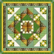 Ezy Quilt Kit/Diamond Medallion/Qn/Pre-cut fabric/Ready to Sew/Greens, Yellows