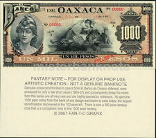 OAXACA, MEXICO 1000 PESO FANTASY ART NOTE - HELMETED LADY, GIRL w/LION, 1-SIDED