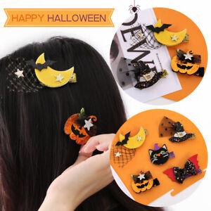 Halloween Cute Pumpkin Bat Moon Cat Hair Clip Claws Girls Women Hairpin Barrette