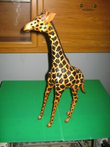 VINTAGE LEATHER/PAPER MACHE HAND CRAFTED GIRAFFE