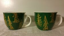 2 Starbucks 2015 Green Gold Trees Christmas Coffee Mugs 14oz
