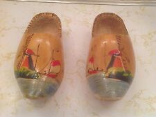 Authentic Pair 7'  Wooden Shoes from Holland  Hand Carved & Painted