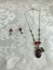 + Dangle Earrings Set - New Carnelian, Peridot, Fwpearls Ss .925 17� Necklace