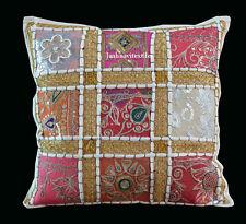 Indian Handmade 16X16 zari Cotton Hippie Bohemian Sofa Cushion Cover Home Decor