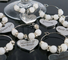 Wedding Wine Glass Charms Keepsake Favours Top Table Decoration Bride Bridesmaid