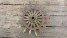 JOHN DEER VINTAGE ROTARY HOE WHEEL RUSTIC INDUSTRIAL FARM GARDEN ART STEAM PUNK