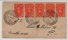 "CHILE Valparaiso 1901 TAX stamps & sort mark U6 on back ""URBANO"" X-rare"
