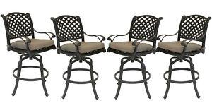 Patio bar stools Set of 4 Outdoor Furniture Nassau Swivel Cast Aluminum Bronze