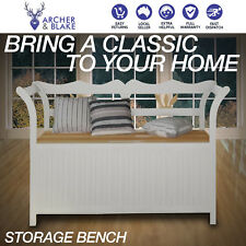 126cm Wooden 2 Seater Storage Cabinet Bench Lounge Sofa Seat Stool Seat Chair