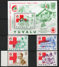 Tuvalu 1988 QEII Red Cross Anniversary set of 4 mint stamps plus Mini Sheet  MNH