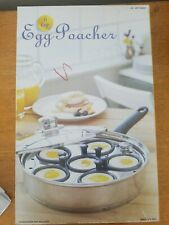 6 Cup Egg Poacher Pan with Lid and Non-stick Cups! Induction Stainless Heavy