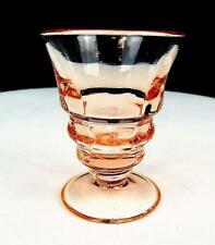 "PADEN CITY GLASS #191 PARTY LINE CHERIGLO PINK BLOCK OPTIC 3"" WINE TUMBLER 1928-"