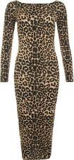 Animal Print Stretch, Bodycon Casual Dresses