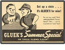 Gluek's Beer Ad Minneapolis MNN  New! Refrigerator / Tool Box Magnet Man Cave