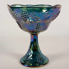 "Vtg Iridescent Blue Carnival Glass Candy Dish Pedestal Bowl Grape Indiana 8"""