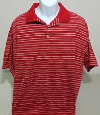 Greg Norman Red Striped Short Sleeve Cotton Polo Golf Shirt Mens XL