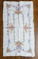 Vintage Embroidered Hand Towel Hand Stitched Floral Flowers Elaborated Art Deco?