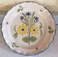 Piatto Ceramica 19eme Auvillar Fiori Giallo