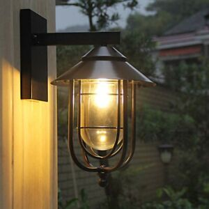 French Country Clear Glass Black Metal Bird Cage Outdoor Gate Wall Lights Sconce